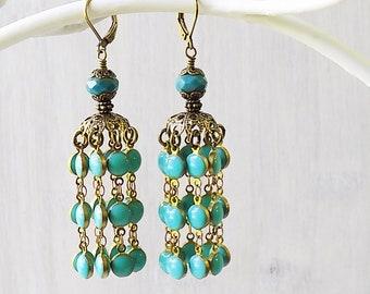 Turquoise earrings, Turquoise tassel earrings, tassel earrings, jhumka earrings, tribal earrings, gypsy earrings, boho earrings, gift woman