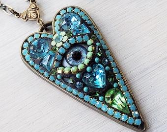 Auge Anhänger, bösen Blick Schmuck, Mikro-Mosaik, Mosaik, Jeweled Herz, Mint blau, hippiehalskette, Anhänger, einzigartiges Geschenk Frau
