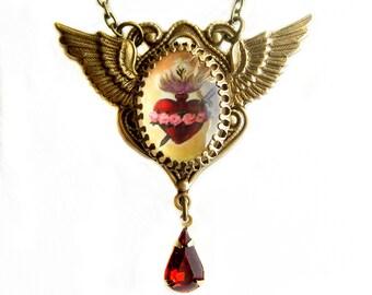 Herz-Anhänger, Unbefleckten Herzen, Flügel Halskette, Herz-Halskette, katholischer Schmuck, katholischen Halskette, Herz-Anhänger, Halskette