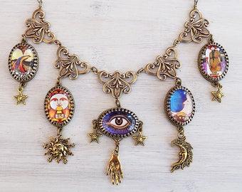 Carnivale Mystickal, Tarot Halskette, himmlische Halskette, Wahrsagerei Halskette, Gypsy Halskette, Boho Schmuck, Festival, Geschenk Frau, heidnischen Geschenk
