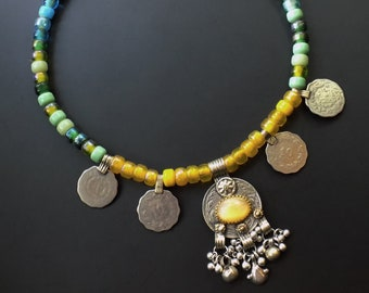 Tribal fusion, kuchi coins, glass pony beads, vintage glass, vintage pendant, yellow necklace, blue and green, sun and sea, boho yellow