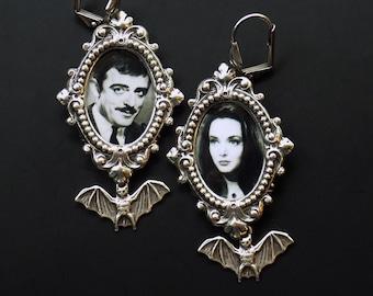 Gomez and Morticia Earrings - Addams Family Earrings - Gothic earrings - Romantic Couple earrings - Valentines Day Earrings -