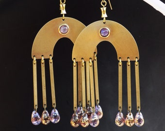 Lilac and Gold earrings, arch earrings, 1970's style, seventies boho, boho earrings, statement earrings, large but light, baroque beads