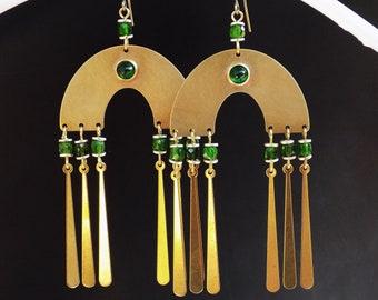 Diopside earrings, Arch and Fringe, gemstone earrings, vivid green, lightweight statement, statement earrings, green boho, 1970s style