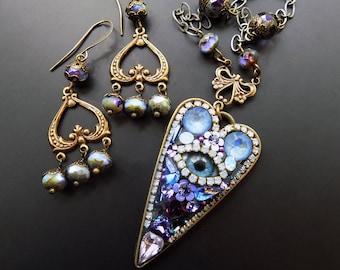 Mosaic necklace, Evil eye, periwinkle, purple blue, jewelry set, one of a kind, glass eye, bohemian,colorful pendant, bohemian pendant, gift