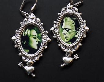 Frankenstein, The Monster and His Bride - Frankenstein's monster Earrings, halloween earrings, clip on, gothic jewelry, fun gift