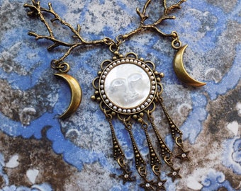 Triple Moon necklace, Mother of pearl, pagan jewelry, witch necklace, wicca jewely, maiden mother crone, moon necklace, pagan art, gift her