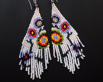 Beaded earrings, beaded floral,  white purple blue green, 3 inches long, boho beaded, lightweight, abstract floral pattern, gift her