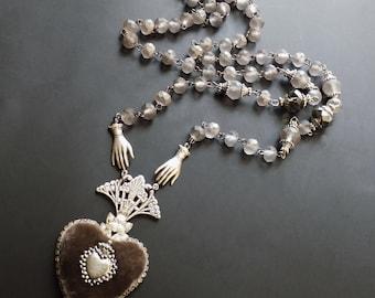 Ex Voto Necklace, Sacred Heart, taupe grey, grey necklace, Gray Ex Voto, Velvet Heart, Rococco jewelry, French Catholic, Gift
