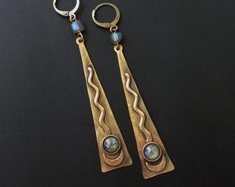 Labradorite earrings, tribal style, moon earrings, long drop, hand hammered, gemstone boho, unique style, tribal style, gypsy earrings