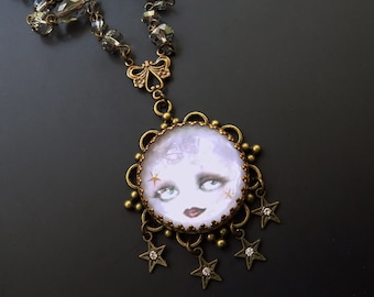 Moon necklace, moon and stars, grey crystal, moon with face, tarot jewelry, tarot pendant, moon face, victorian style, gypsy jewelry