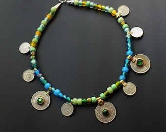 Tribal fusion, kuchi coins, cool colorway, pony bead necklace, vintage glass beads, vintage kuchi findings, bohemian necklace, beachy jewels