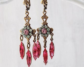 Vintage style earrings, Rosaline Pink, Pink Earrings, Victorian style earrings, dainty earrings, gift woman, gift girl, estate style, rose