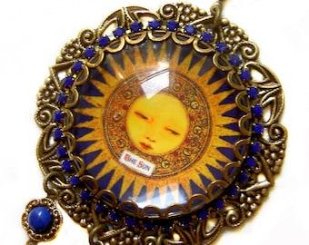Tarot Necklace - The Sun - Tarot Pendant - Lapis Pendant - Gypsy Necklace - Fortune Teller - Boho Jewelry - Navy Blue Necklace -