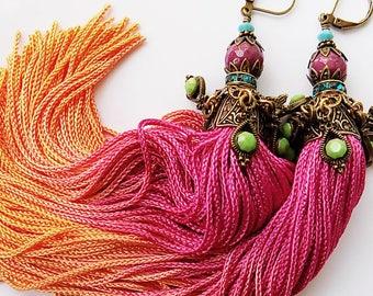 Tassel Earrings - Ombre Earrings - Hippie Earrings - Bellydance Earrings - Festival - Gypsy- Boho Chic - Bohemian Jewelry