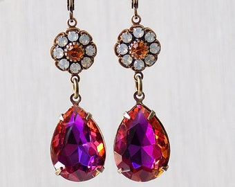 Topas und Opal, Strass Ohrringe, Blumen Ohrringe, Barock Ohrringe, Vintage-Stil, Rosa und Orange, heißen rosa Ohrringe, orange