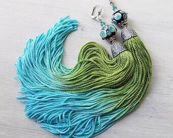 Tassel Earrings, long tassels, ombre tassels, lampwork earrings, turquoise green, gypsy earrings, bellydance earrings, boho earrings, unique