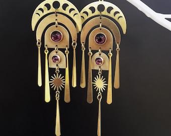 Moon Earrings, Plum amethyst, purple, moon phase, 1970s boho, art Deco, Art Nouveau, Lightweight earrings, shoulder duster, gypsy earrings