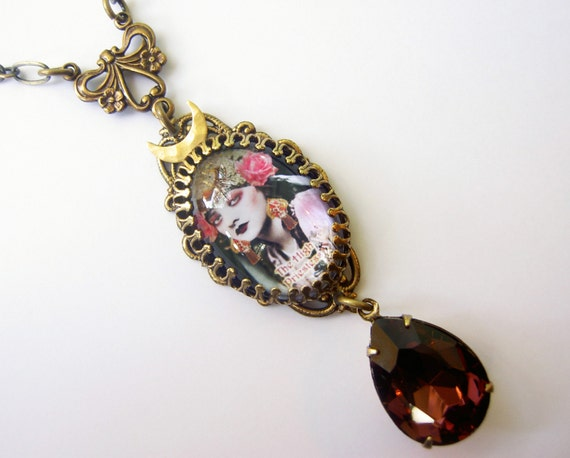 Tarot Pendant Small Tarot Necklace High Priestess Necklace