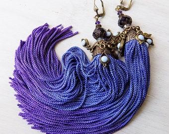 Tassel Earrings, Violet Ombre Earrings, Jhumka, Tassels, Purple Earrings, Boho Earrings, Long Earrings, Bellydance earrings, Blue Purple