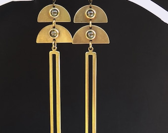 Art Deco Style, vintage tourmaline stones, long and delicate, unique earrings, elegant boho jewelry, long and slender