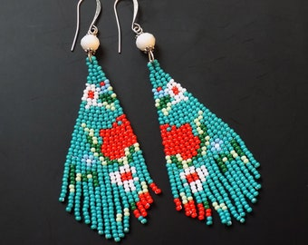 Beaded earrings, turquoise blue, coral red, white and green, 3 inches long, lightweight, floral beaded, gypsy earrings, turquoise beaded