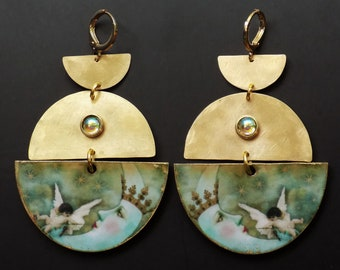 Moon Earrings, light weight, hammered brass, wood, artisan jewelry, unique style, seafoam and gold, angel earrings, celestial jewelry, gift