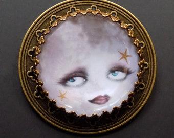 Moon Pin, Celestial jewelry, Moon face, Clara Bow, Tarot jewelry, Moon Card, pagan jewelry, moon face jewelry, pagan pin, boho pin, unique