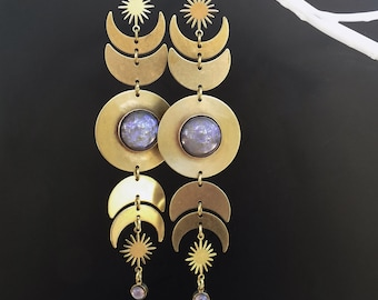 Statement Earrings, Moon Phase, Fire Opal, Taupe and Violet, Stunners, very long, Bohemian elegance, very unique, vintage cabochons, Biba