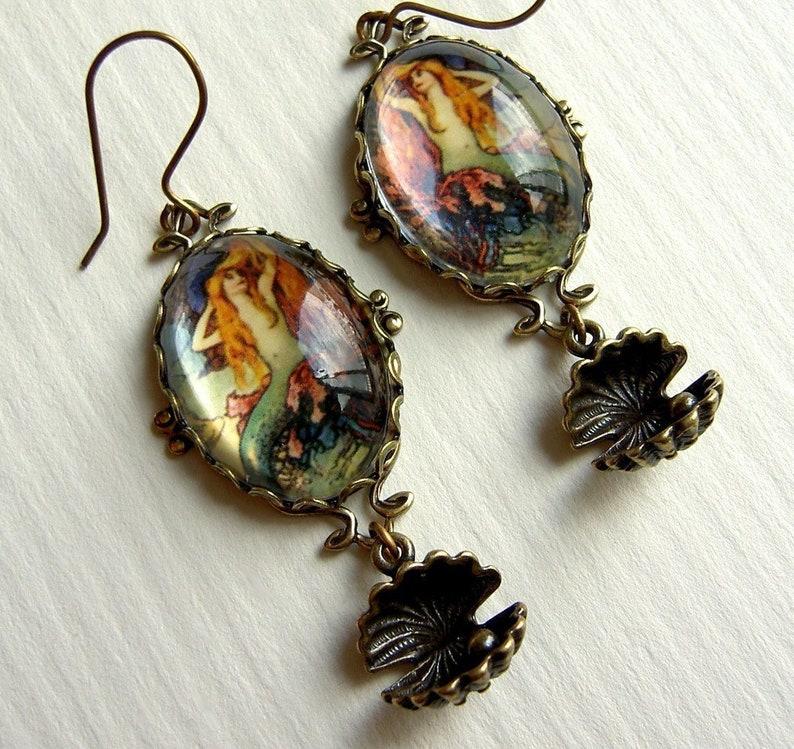 Oyster and pearl charm colorful mermaid gift for her redhead jewelry Mermaid earrings unusual gift vintage image vintage mermaid