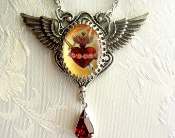 Sacred heart necklace, sacred heart pendant, immaculate heart, Catholic pendant, Catholic necklace, Catholic Jewelry, winged heart, gift her