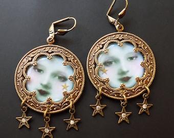 Moon Earrings, Blue Moon, Victorian Moon, pagan earrings, mint blue, mint green, art jewelry, feminine, Clip on earrings, valentine gift