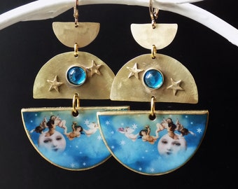 Moon Earrings, light weight, hammered brass, wood, artisan jewelry, unique style, Turquoise and gold, angel earrings, celestial jewelry