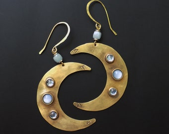 Moon Earrings, large tribal style, rustic boho, witchy earrings, aquamarine gemstone, traditional, metalworking, hammered metal