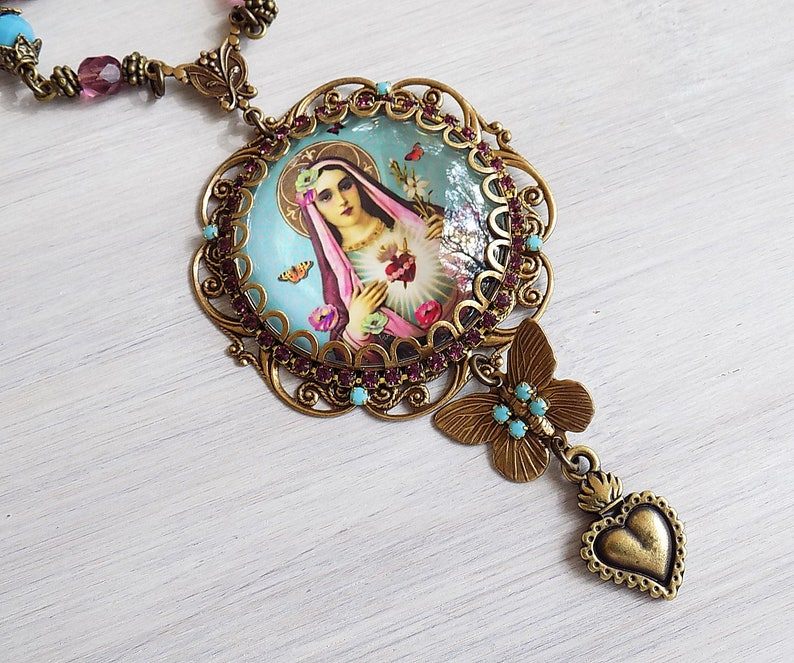 Boho Necklace Gypsy Jewelry Mary Necklace Catholic Jewelry Mary Pendant Necklace ex voto Turquoise Gypsy Necklace Blessed Mother