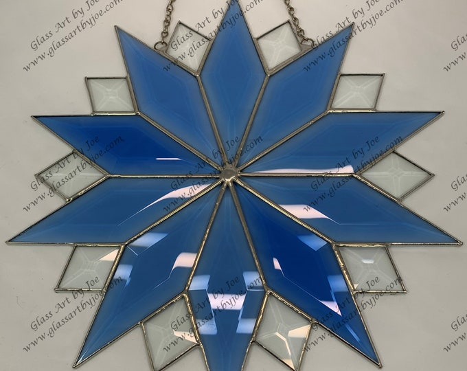 20 Point Flat Hanging Stained Glass Star, Christmas Star Ornament, Bevel Glass, Ornament, Snowflake, Gift, Wedding