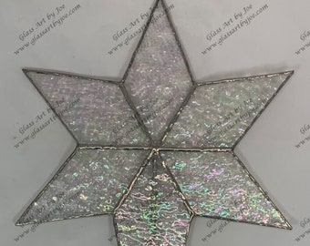 6 Point Flat Tree Topper Stained Glass Star, Christmas Star Ornament, Clear Iridescent Glass, Ornament, Stars, Gift, Wedding