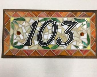 "Custom Mosaic House Sign - 18 1/2"" x 9 1/2"""