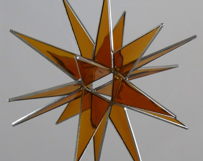3D Stained Glass Moravian Star, Christmas Star Ornament, Amber Glass, 18 Point, Hanging Ornament, Stars, Gift, Wedding
