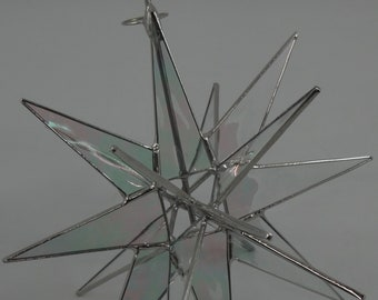 3D Stained Glass Moravian Star, Christmas Star Ornament, Clear Iridescent Glass, 18 Point, Tree Topper, Stars, Gift