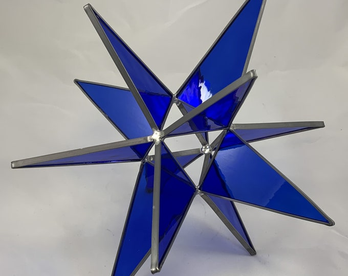 12 Point Cobalt Blue Water Glass Hanging Bethlehem Star