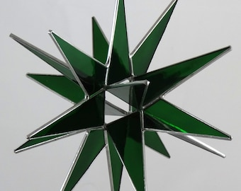 18 Point Green Moravian Star - Glass Art by Joe Stained Glass Studio LLC