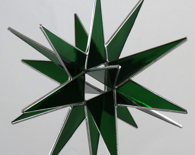 3D Stained Glass Moravian Star, Christmas Star Ornament, Green Glass, 18 Point, Hanging Ornament, Stars, Gift, Wedding