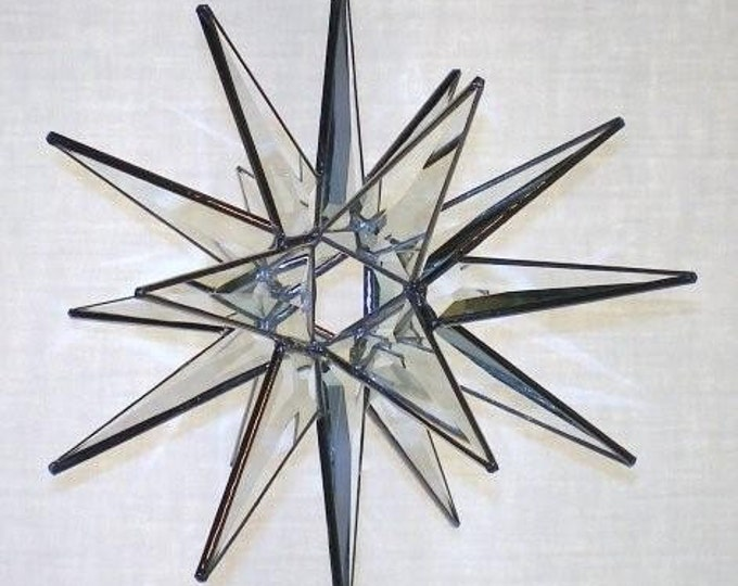 3D Stained Glass Moravian Star, Christmas Star Ornament, Clear Bevel Glass, 18 Point, Hanging Ornament, Stars, Gift, Wedding