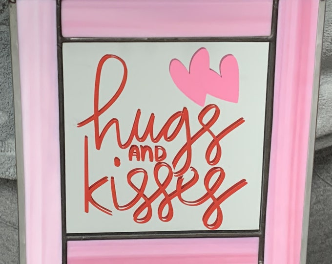 Hugs & Kisses Stained Glass Panel
