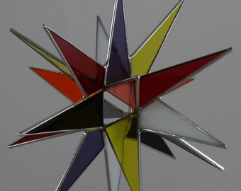 3D Stained Glass Moravian Star, Christmas Star Ornament, Multi Colored Glass, 18 Point, Hanging Ornament, Stars, Gift, Wedding