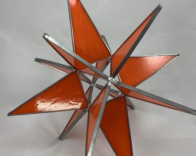 3D Stained Glass Moravian Star, Christmas Star Ornament, Orange Glass, 12 Point, Hanging Ornament, Stars, Gift, Wedding