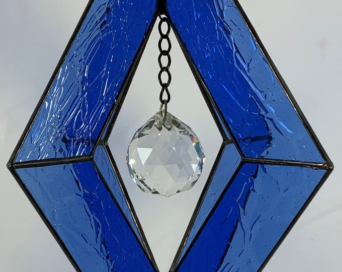 Stained Glass Spinner w/BlueTextured Glass and an Clear Glass Faceted Globe