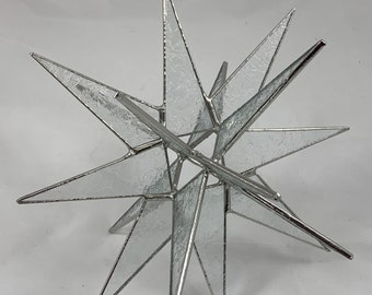 18 Point Clear Glue Chip Hanging Moravian Star