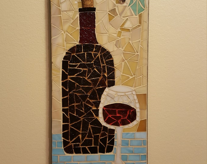 Mosaic Wine Bottle and Glass